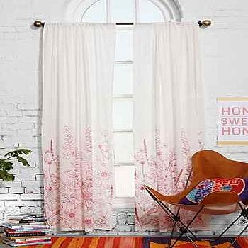 Window Treatments - Assembly Home Delling Curtain I Urban Outfitters - red and white bird print drape, red and white bird print curtain, red and white cotton drapes,