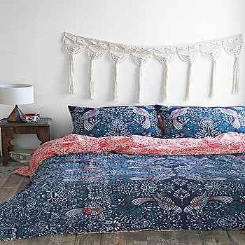 Bedding - Plum & Bow Mirrored Love Birds Duvet Cover I Urban Outfitters - navy and red print duvet, navy and red bird print bedding, navy bird print bed linens, red white and blue duvet cover,