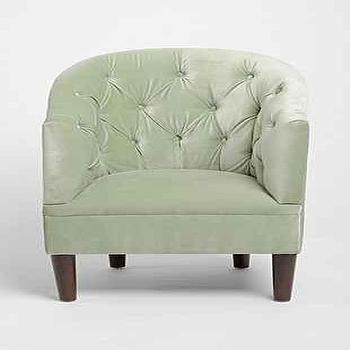 Seating - Cecily Chair I Urban Outfitters - mint green velvet armchair, green velvet tufted chair, mint green tufted armchair,