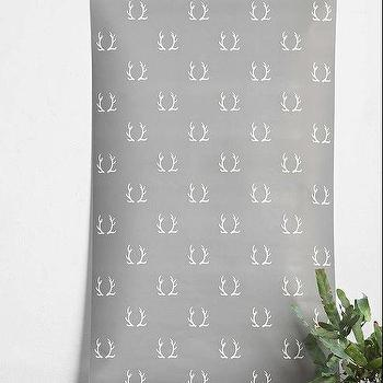 Wallpaper - Chasing Paper Antlers Removable Wallpaper I Urban Outfitters - antler print wallpaper, gray antler print wallpaper, removable antler wallpaper, removable wallpaper,