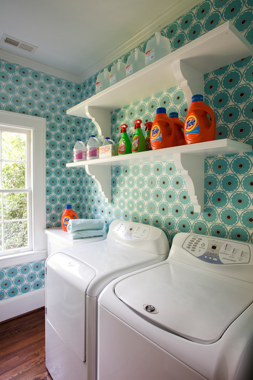 shelves over washer and dryer vintage laundry room. Black Bedroom Furniture Sets. Home Design Ideas
