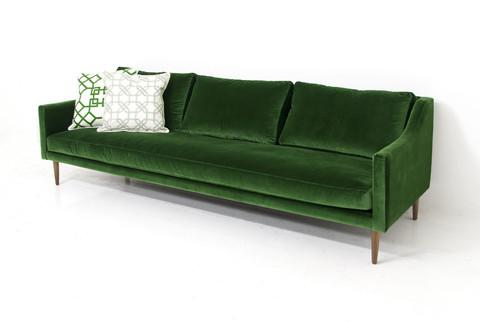 Naples sofa in emerald green velvet modshop for Emerald green sectional sofa
