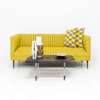 Seating - Manhattan Sofa in Old Gold Linen | ModShop - yellow channel tufted sofa, modern yellow sofa, golden yellow sofa,