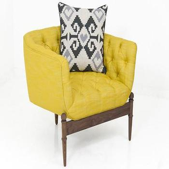 Seating - Portofino Chair in Old Gold Linen | ModShop - yellow tufted chair, modern yellow chair, walnut based tufted chair,
