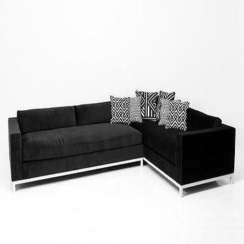 Seating - Monte Carlo Sectional in Black Velvet | ModShop - black velvet sectional, modern black velvet sectional, modern black sectional sofa, black sectional with white legs,