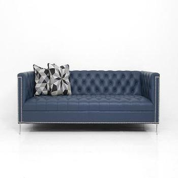 Seating - Hollywood Sofa in Ocean Blue Leather | ModShop - modern navy tufted sofa, navy velvet tufted sofa, navy button tufted sofa, navy tufted sofa with nailhead trim, velvet sofa with nailhead trim,