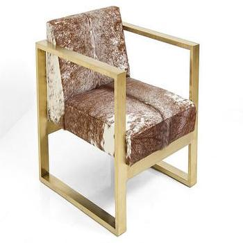 Seating - Kube Chair in Red and White Cowhide | ModShop - brass framed chair, brass chair with cowhide seat, brass and cowhide chair,