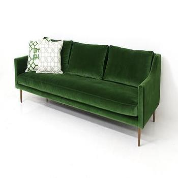 Seating - Naples Sofa in Emerald Green Velvet | ModShop - emerald green velvet sofa, emerald green sofa, green velvet sofa, mid century velvet sofa,