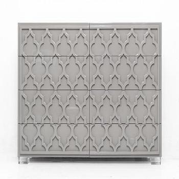 Storage Furniture - Tangier tall Boy Dresser in Greystone | ModShop - gray lacquered dresser, gray arabesque front dresser, gray moroccan dresser, raised trellis front dresser,