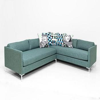 Seating - Slim Jim Sectional in Key Largo Teal Linen | ModShop - teal green sectional, teal linen sectional, modern teal sectional, teal sectional sofa,