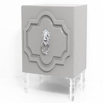 Storage Furniture - Marrakesh Side Table in Greystone | ModShop - modern morrocan side table, lacquered gray side table, gray side table with lucite legs, side table with lionhead pull,