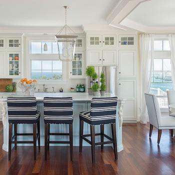 Navy Barstools, Cottage, kitchen, Kate Jackson Design