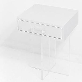 Storage Furniture - London Criss-Cross Side Table | ModShop - lucite based side table, lucite side table, lucite and white lacquer side table, lacquered side table with lucite base,