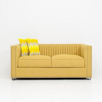 Seating - Acapulco Sofa in Yellow Linen | ModShop - yellow linen sofa, modern yellow linen sofa, yellow tufted back sofa, modern yellow sofa,