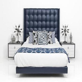Beds/Headboards - St. Tropez Bed in Navy Faux Leather | ModShop - navy faux leather bed, modern navy bed, navy faux leather headboard, square tufted navy bed,