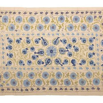 Bedding - Suzani - Large | Jayson Home - suzani throw, suzani bedspread, blue and beige suzani, suzani coverlet,