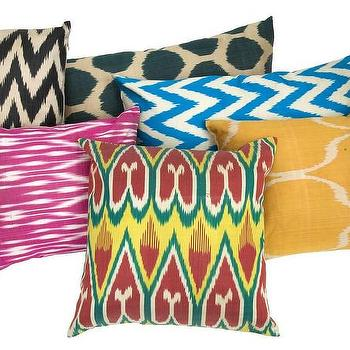 Pillows - Ikat Pillows | Jayson Home - silk ikat pillow, pink silk ikat pillow, multi colored ikat pillow, blue chevron pillow, chevron ikat pillow, yellow ikat pillow, ikat dot silk pillow, zigzag ikat pillow,