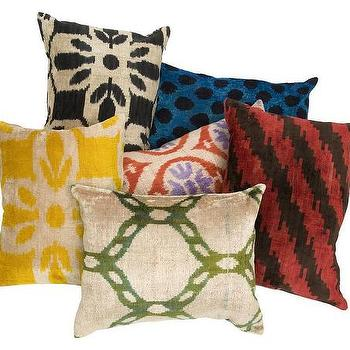 Pillows - Ikat Velvet Pillows | Jayson Home - ikat velvet pillow, blue ikat velvet pillow, red ikat velvet pillow, yellow ikat velvet pillow, green ikat velvet pillow,