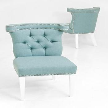 Seating - Bel Air Dining Chair in Aqua Linen | ModShop - aqua linen dining chair, blue linen dining chair, modern linen dining chair, tufted linen dining chair, blue dining chair with nailhead trim,