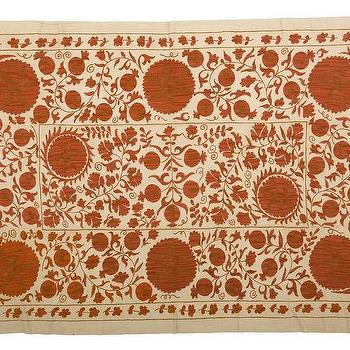 Bedding - Suzani - Large | Jayson Home - rust red suzani throw, burnt orange suzani throw, suzani throw, suzani coverlet,