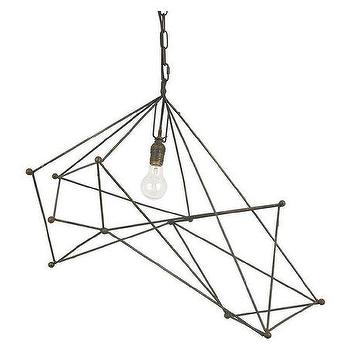 Lighting - Sussex Chandelier - Single | Jayson Home - geometric iron chandelier, modern iron chandelier, iron rod chandelier,