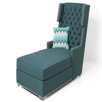 Seating - Tangier Chaise Lounge | ModShop - teal green chaise lounge, tufted teal chaise lounge, modern teal green chaise lounge, button tufted teal green chaise,