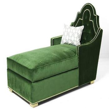 Seating - Marrakesh Chaise Lounge in Emerald Velvet | ModShop - emerald green chaise lounge, green velvet chaise lounge, modern green chaise lounge, green chaise with nailhead trim, green tufted chaise, emerald green tufted chaise,