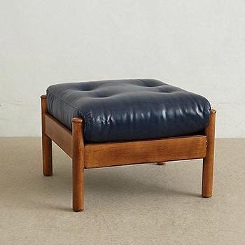 Seating - Alvorada Ottoman I anthropologie.com - navy tufted ottoman, navy leather ottoman, vintage leather ottoman, navy leather tufted ottoman,