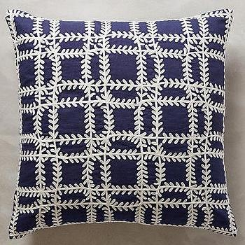 Pillows - Bija Framework Pillow I anthropologie.com - blue block print pillow, indigo block print pillow, navy blue and white pillow,