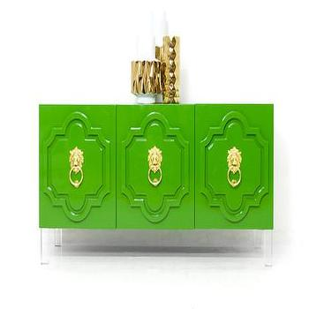 Storage Furniture - Marrakesh 3 Door Credenza in Kelly Green | ModShop - modern green credenza, kelly green credenza, green moroccan credenza, glossy green credenza, green credenza with lion hardware,