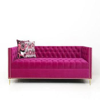 Seating - James Sofa in Very Berry Velvet | ModShop - fuchsia pink sofa, pink velvet sofa, pink velvet tufted sofa, fuchsia pink tufted sofa, modern pink velvet sofa,