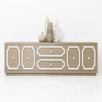Storage Furniture - Hollywood Credenza in Bleached Oak Veneer   ModShop - bleached oak credenza, modern oak credenza, oak credenza with white trim,
