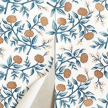 Wallpaper - Peonies Wallpaper I anthropologie.com - peony wallpaper, vintage floral wallpaper, peonies wallpaper, blue and orange peony wallpaper, peony print wallpaper,