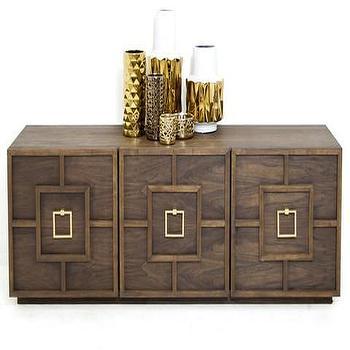 Storage Furniture - St. Tropez 3 Door Credenza in Walnut | ModShop - modern walnut credenza, walnut credenza, geometric front credenza, modern walnut buffet,