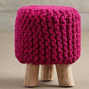 Seating - Handknit Tuffet I anthropologie.com - pink wool stool, woven pink stool, pink wool stool,