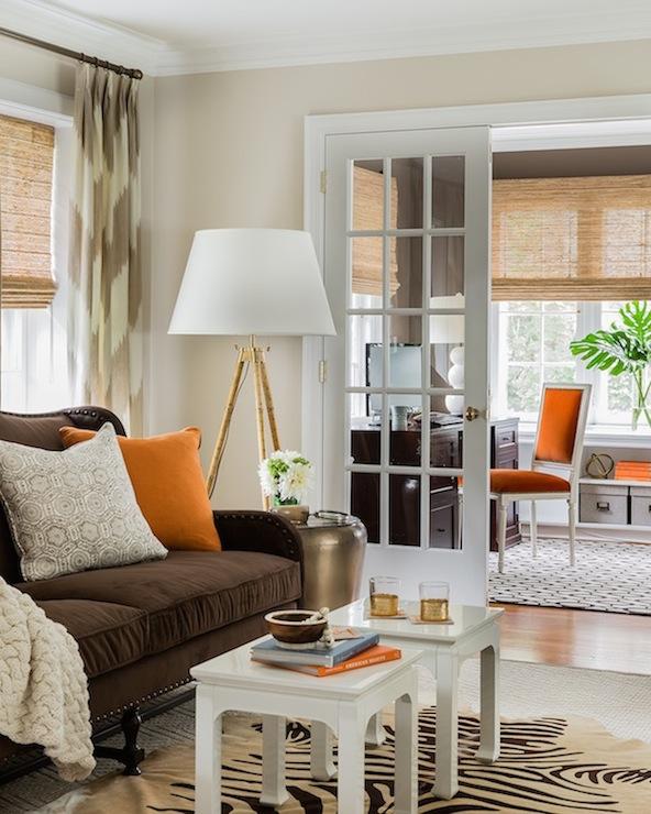 Brown Velvet Sofa Transitional Living Room Erin