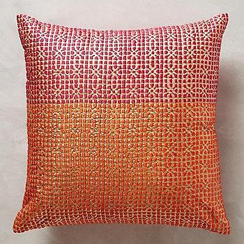 Pillows - Jali Pillow I anthropologie.com - pink and orange pillow, pink and orange geometric pillow, pink and orange color block pillow,