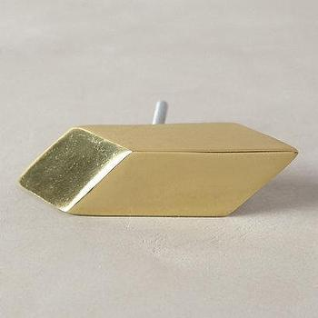 Decor/Accessories - Barragan Gleam Knob I anthropologie.com - geometric gold knob, geometric gold cabinet pull, gold cabinet knob,