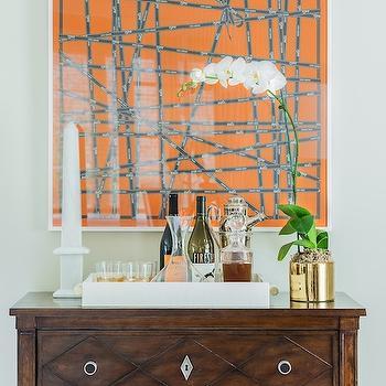 Erin Gates Design - dining rooms - alabaster obelisk, marble obelisk, white marble obelisk, hermes scarf, framed hermes scarf, vintage chest, bar cabinet, bar chest, scarf art, framed scarf, framed scarves,
