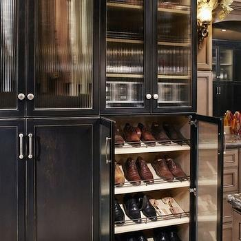 closets - shoe shelves, shelves for shoes, slanted shoe shelves, slanted shelves for shoes, black shoe cabinets, shoe cabinets, shoe cabinet ideas, glass door shoe cabinets, glass front shoe cabinets,