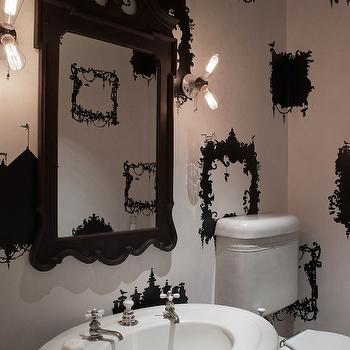 Black and White Powder Room, Eclectic, bathroom, HSH Interiors