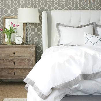 Gray Border Duvet, Transitional, bedroom, A Thoughtful Place