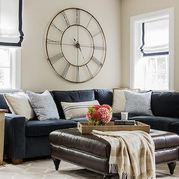 Navy Sectional, Transitional, living room, Erin Gates Design