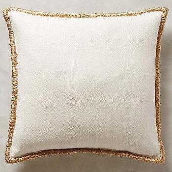 Pillows - Raffia Embroidered Pillow I anthropologie.com - silk raffia pillow, raffia throw pillow, silk pillow with raffia trim, raffia bordered pillow,