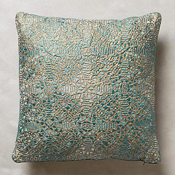 Pillows - Crocheted Bihari Pillow I anthropologie.com - blue silk pillow, blue silk crocheted pillow, silk crochet pillow,