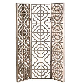 Decor/Accessories - Quatrefoil Floor Screen I Wisteria - quatrefoil floor screen, geometric wood floor screen, quatrefoil patterned floor screen, mango wood floor screen,