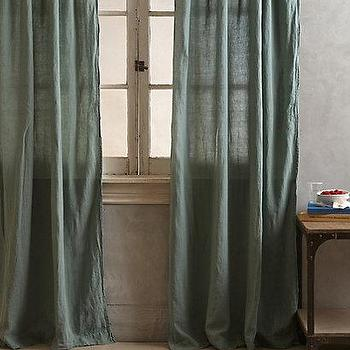 Window Treatments - Linen Balsas Curtain I anthropologie.com - green linen drapes, green linen curtains, dark green drapes,