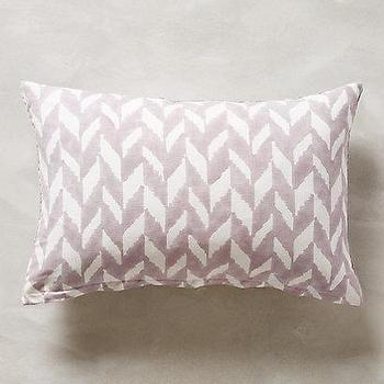 Pillows - Chevron Arrangement Pillow I anthropologie.com - hand blocked chevron pillow, hand block chevron pillow, gray chevron lumbar pillow, gray chevron pillow,