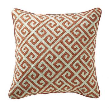Pillows - Greek Key Pillow - Persimmon I Wisteria - orange greek key pillow, orange geometric pillow, orange and white greek key pillow, greek key pillow,