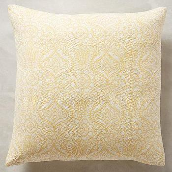 Pillows - Bungalow Pillow - anthropologie.com - yellow and white pillow, yellow indian print pillow, yellow hand embroidered pillow,
